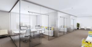 Automatische glazen deur kantoor